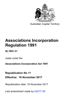 ACT Associations Incorporation Regulation 1991