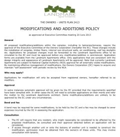 Modification and additions policy