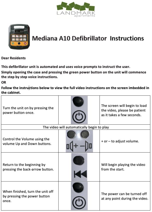 Defibrillator instructions